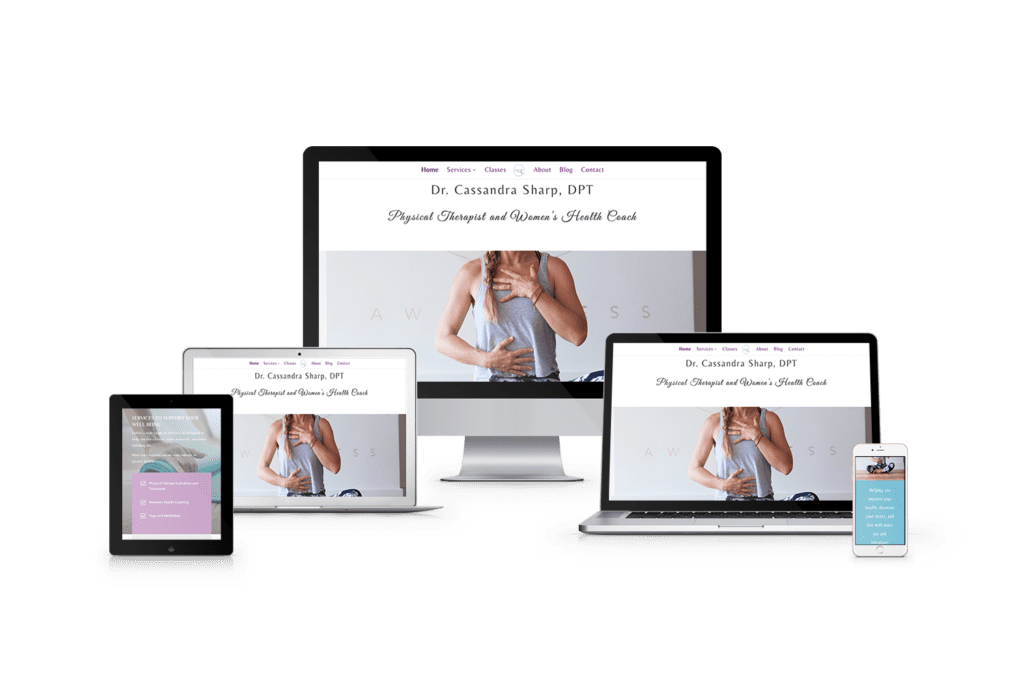 Physical therapy website design shown on multiple screen sizes.