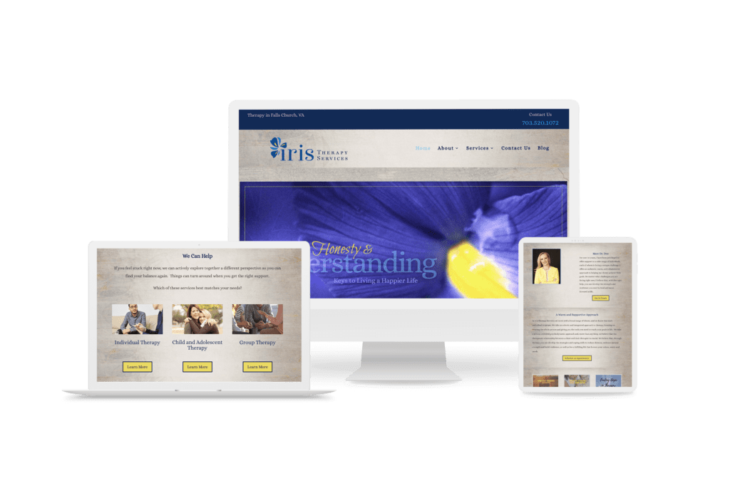 Iris Therapy website shown on multiple screen sizes.