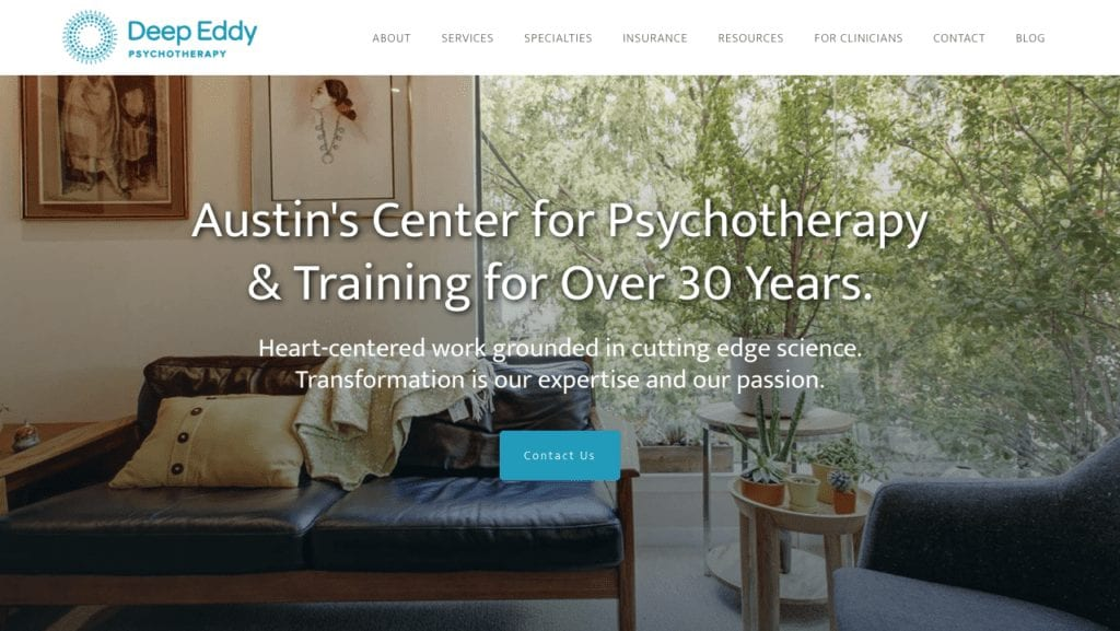 Psychotherapy website example