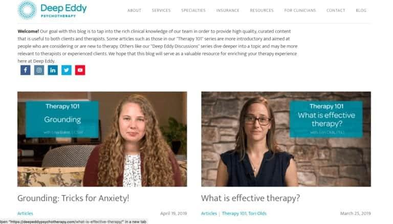 therapist website video example