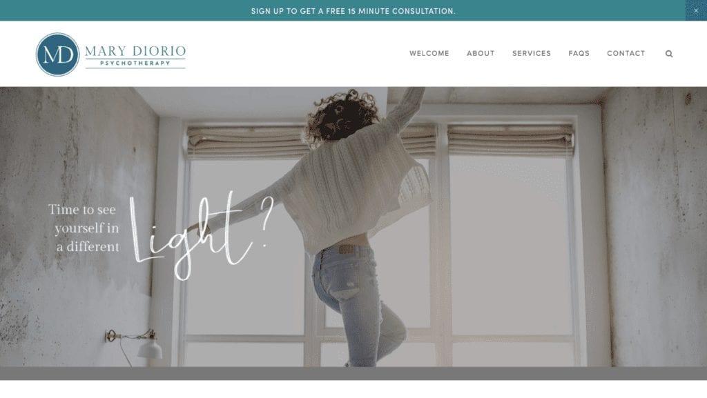 mary diorio therapist website homepage image