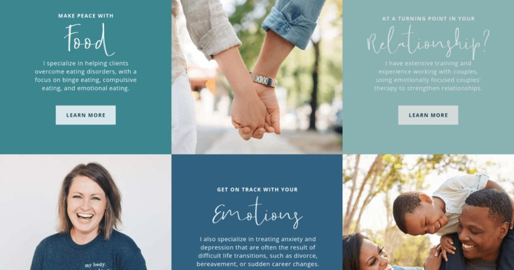 example therapist website specialties