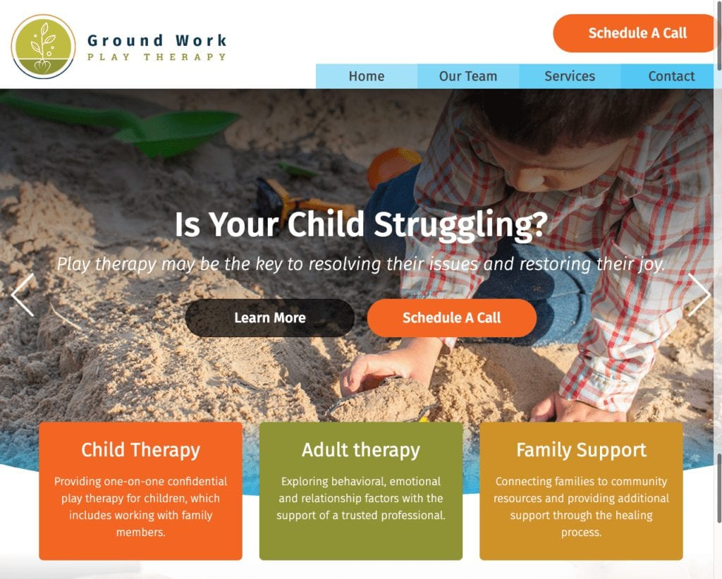 play therapy website example