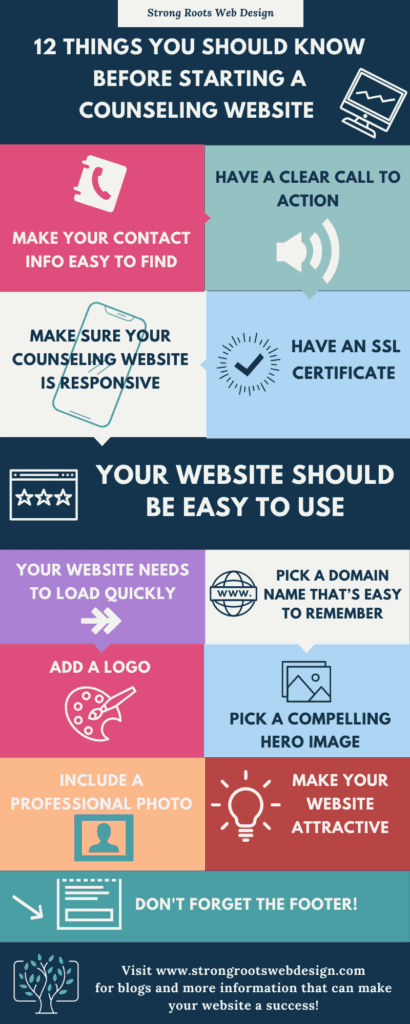 infographic starting a counseling website